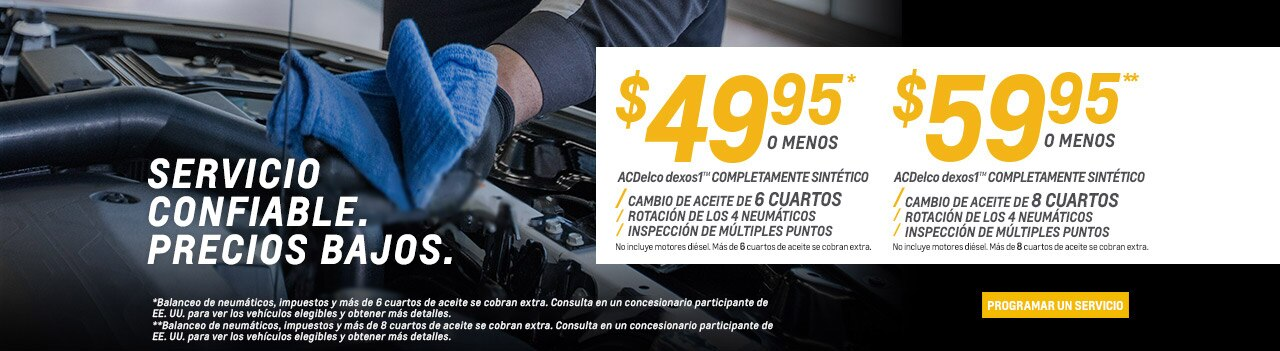Ofertas de neumáticos Chevrolet, especiales en cambio de aceite, especiales en frenos y reembolsos