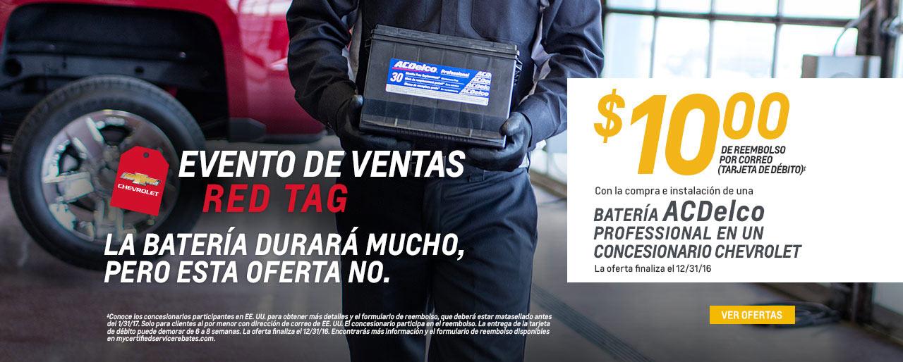 La batería durará mucho tiempo pero esta oferta no. Reembolso por correo de $10.00 (tarjeta de débito) con la compra e instalación de una batería ACDelco Professional en un concesionario Chevrolet. La oferta termina el 12/31/16