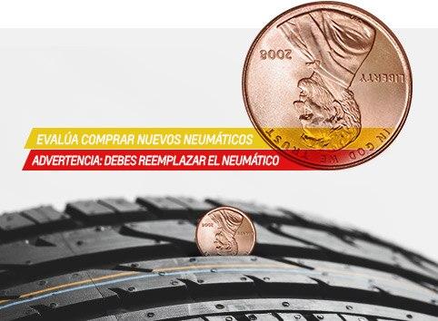 Diagrama de la prueba del centavo de Chevrolet para medir la profundidad de la banda de rodamiento del neumático