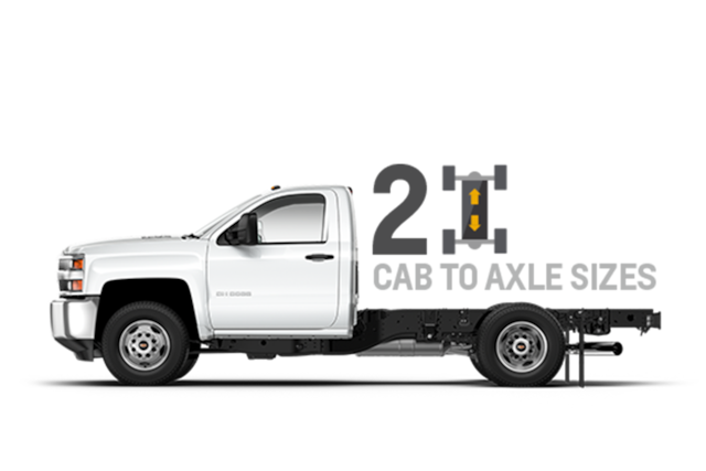 Camioneta Silverado 2018 chasis con cabina, 2 tamaños de cabina a eje