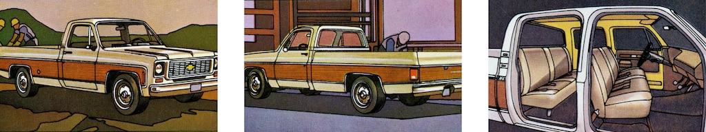 Una foto del folleto de camionetas Chevy del 1973 original con tres vistas de una pickup de la serieC/K en blanco y rojo: una desde el lado del acompañante, una desde el lado del conductor y una sin las puertas mostrando el interior