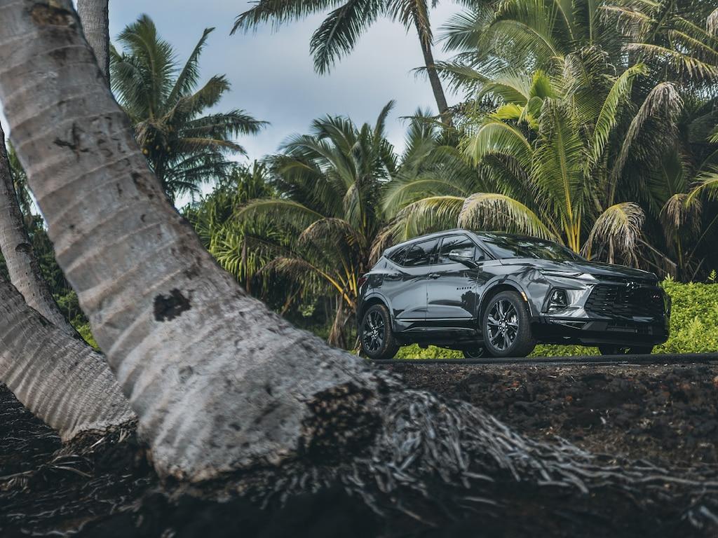 Una Chevrolet Blazer en Gris Anochecer Metálico detenida en un camino rodeado de palmeras.
