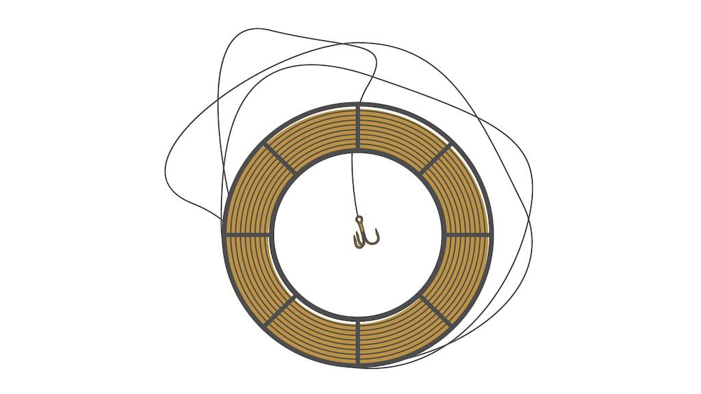 Una ilustración de un carrete de pesca y un sedal.