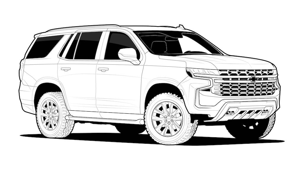 Un dibujo lineal en blanco y negro de unaChevy Tahoe2021.