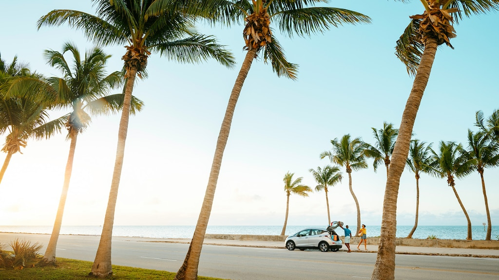 Un Bolt EV en Plata Hielo Metálico estacionado en una calle con palmeras y el mar de fondo.