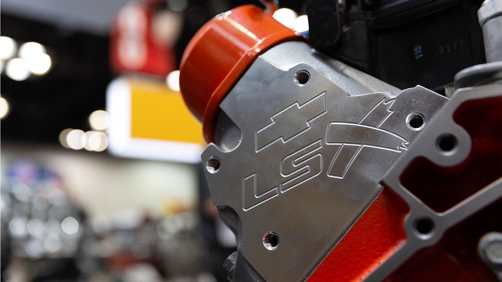 Una parte del motor supercargado basado en LSX V8 de 350 pulgadas cúbicas.