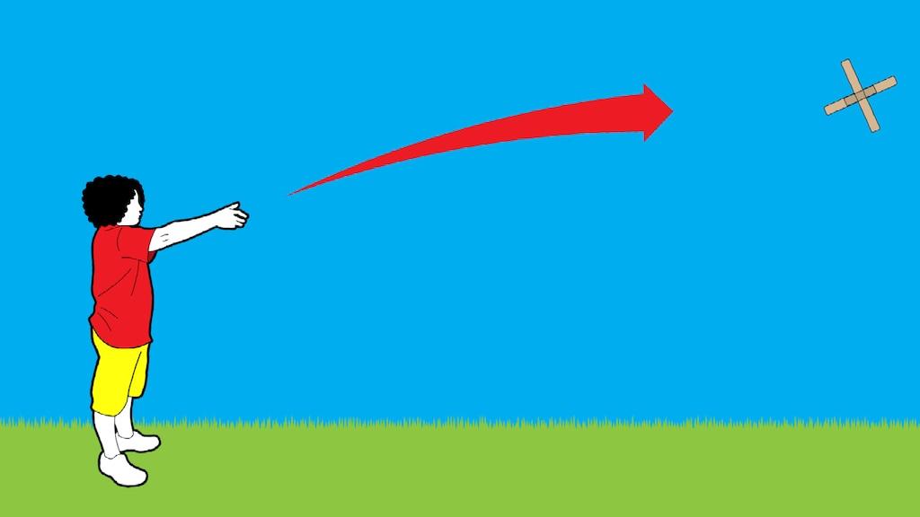 Una ilustración de una persona con su brazo derecho extendido después de lanzar un búmeran. El búmeran se aleja volando y una flecha roja grande muestra su movimiento.