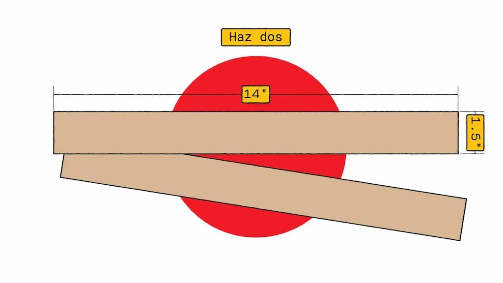Una ilustración de dos piezas de cartón, cada una de 14 pulgadas por 1.5 pulgadas.