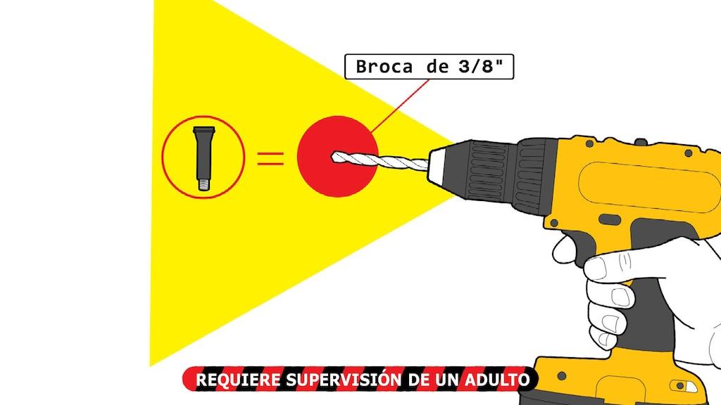 """Una ilustración de una mano sosteniendo un taladro eléctrico con un primer plano de una broca, con texto que dice """"Broca de 3/8"""""""". El texto de abajo dice: """"Requiere supervisión de un adulto""""."""