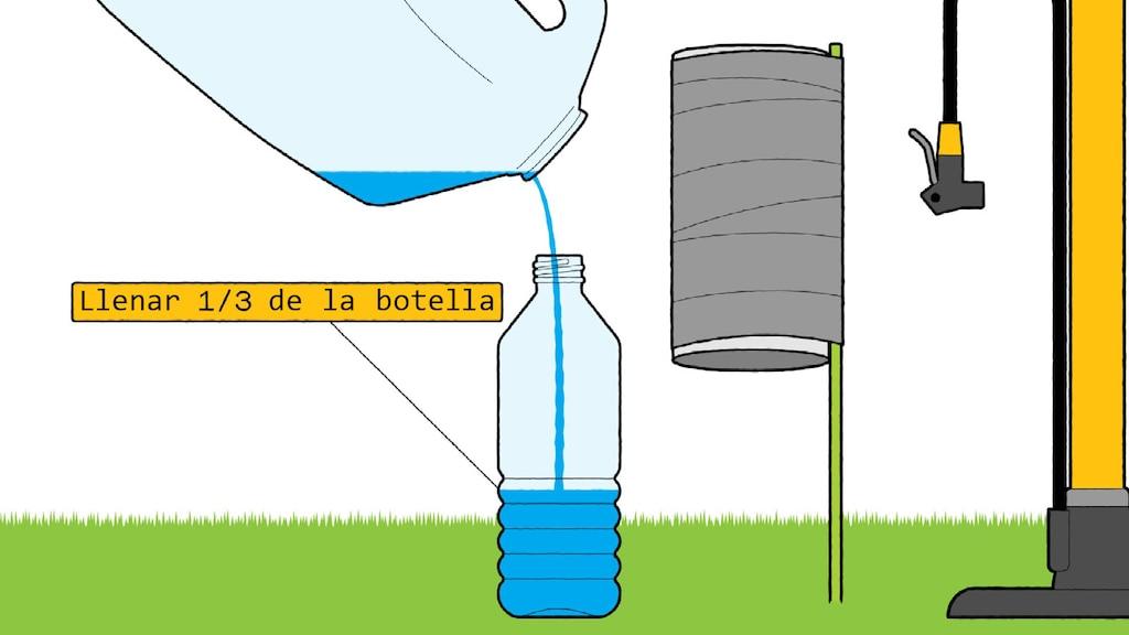 Una ilustración de un bidón con agua inclinado para verter el agua en la botella de plástico de 20 onzas. Al lado hay un tubo de cartón con estaca de jardín pegada y un inflador de bicicleta.