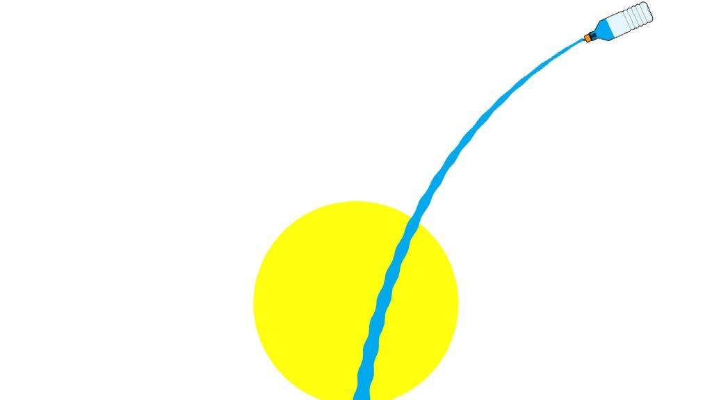 Una ilustración de una botella de plástico volando hacia arriba a la derecha, con un chorro de agua que va dejando detrás.