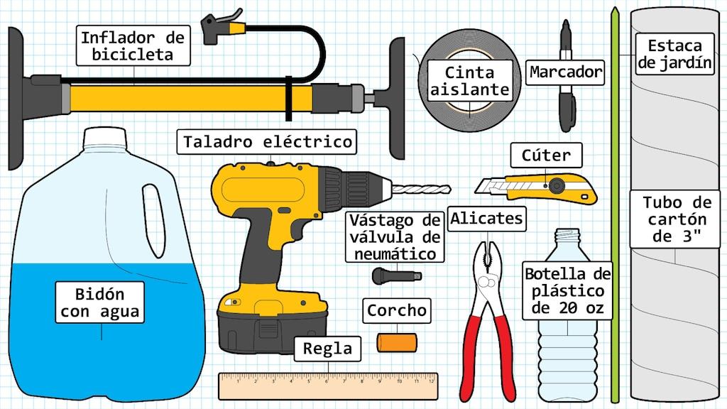 Una ilustración de un bidón con agua, un inflador de bicicleta, un taladro eléctrico, una regla de madera, unvástago de válvula de neumático de auto, un corcho, un par de pinzas, un rollo de cinta aislante, un cúter, una botella de plástico, un marcador, una estaca de jardín y un tubo de cartón.