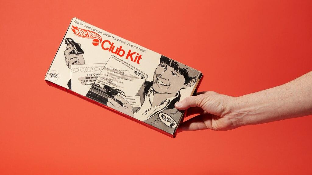 Una caja Hot Wheels Club Kit original.