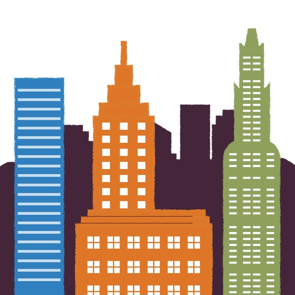Una ilustración de paisaje urbano.