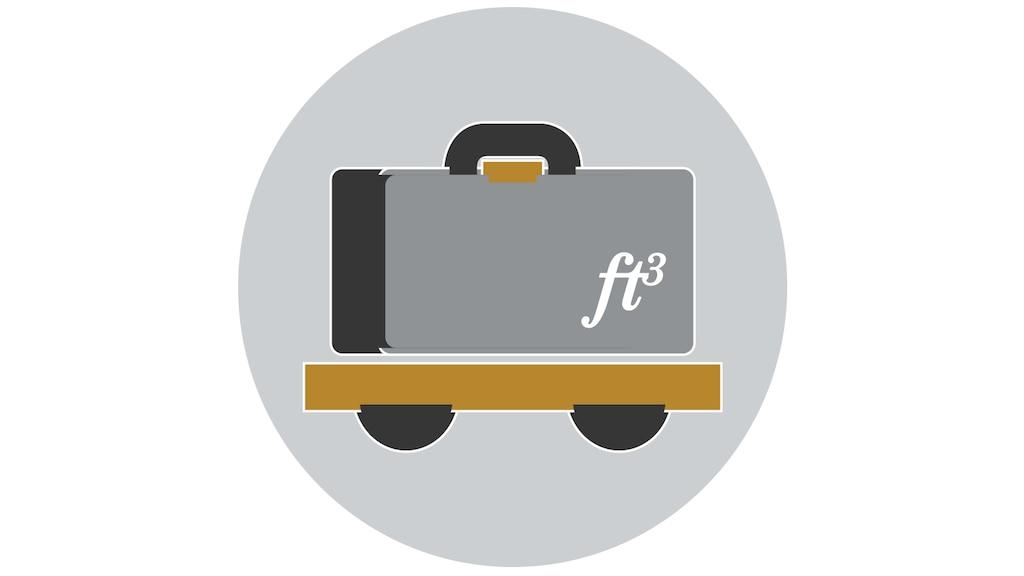 Un dibujo lineal de una maleta sobre ruedas.