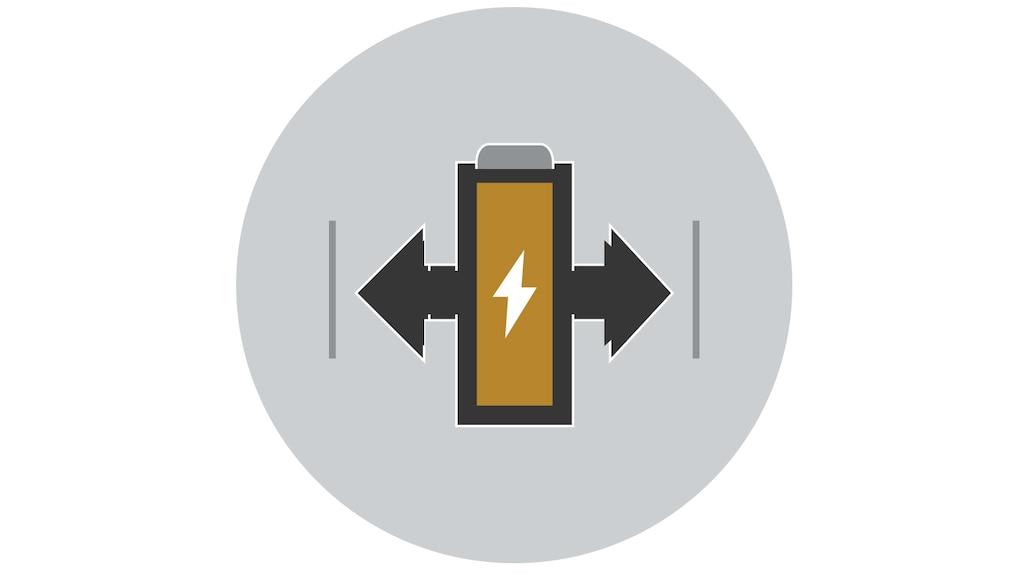 Un dibujo lineal ilustra una batería con flechas en cada lado.