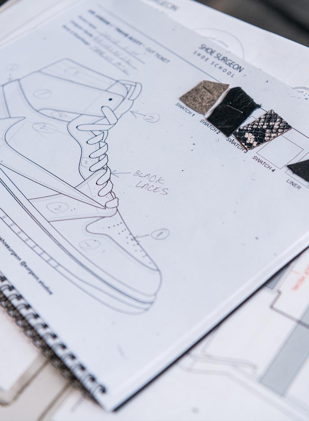 Un cuaderno de espiral abierto en una página con el diagrama de unos tenis.