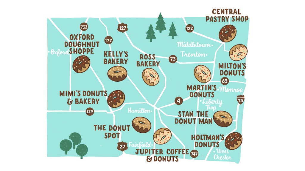 Mapa ilustrado de las ubicaciones de tiendas de donas (que se muestran con el ícono de una dona) del Donut Trail en el condado de Butler, Ohio.