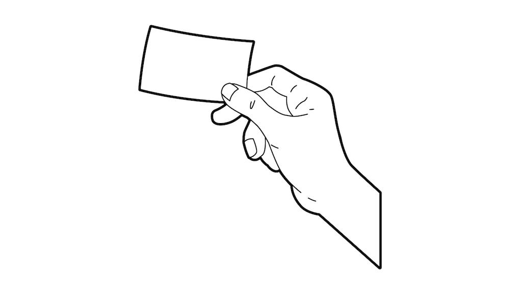 Un dibujo lineal de una mano sosteniendo una tarjeta de crédito.