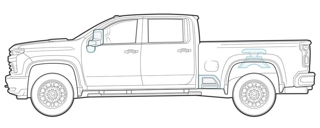 Una ilustración de una camioneta pickup Silverado HD totalmente nueva.