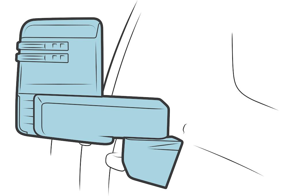 Una ilustración de un espejo de visión lateral.