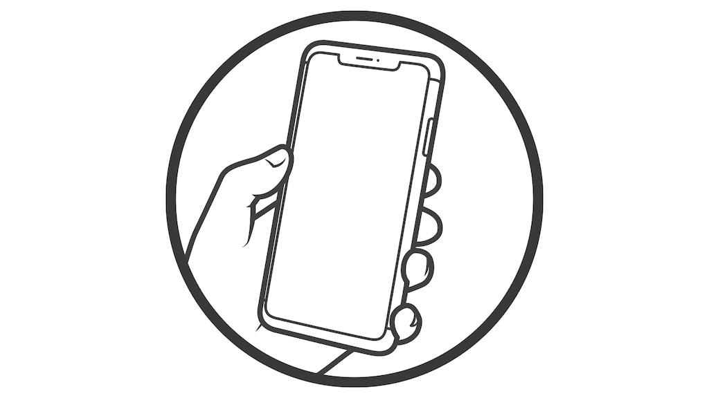 Una ilustración de una mano sosteniendo un smartphone.