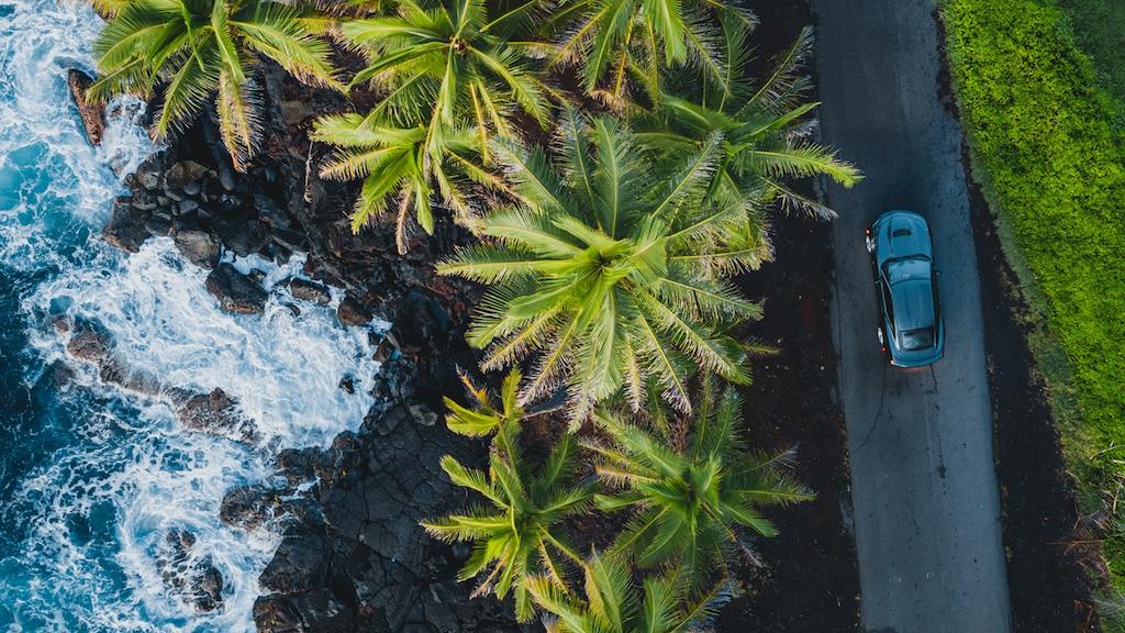 Vista aérea de un Camaro SS 2020 negro estacionado sobre un camino de un solo carril con palmeras, una costa rocosa y el mar del lado del conductor.