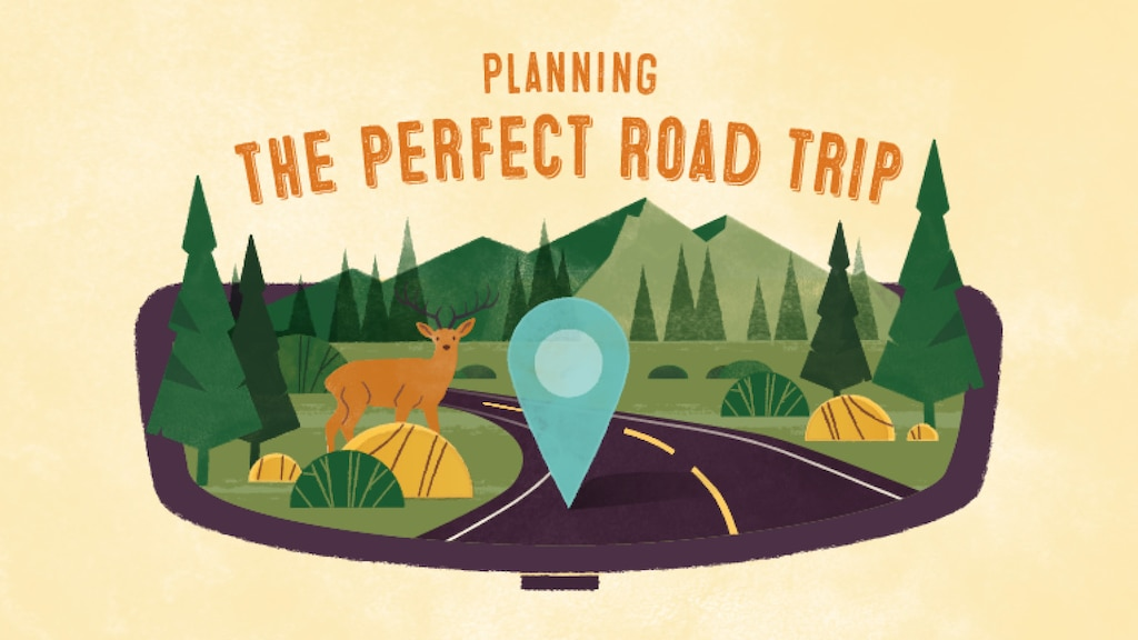 Una ilustración de un camino que pasa a través de un paisaje de montañas y árboles, con un ciervo al costado del camino. El texto sobre la imagen dice: Planificar el mejor viaje en carretera.