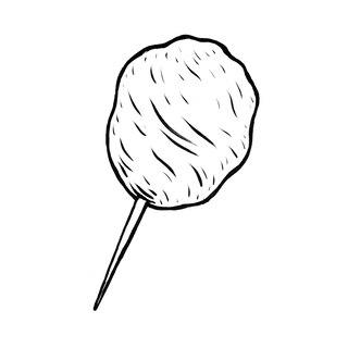 Ilustración de algodón de azúcar en un palito.