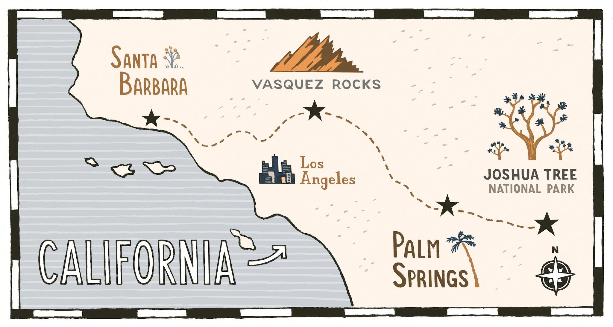 Ilustración de un mapa de los parques del sur de California.