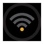 Ícono ilustrando Wi-Fi disponible.