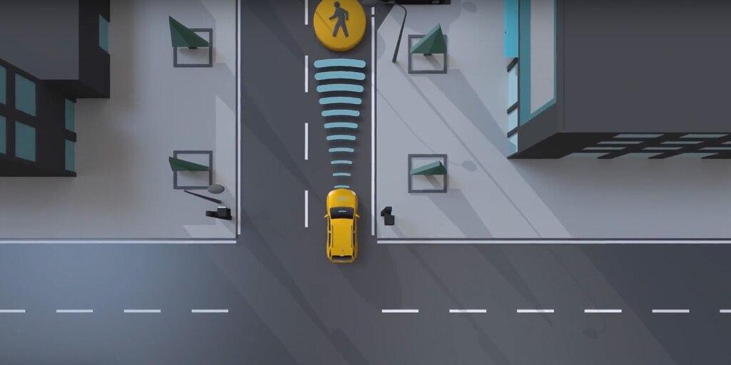 Seguridad: Sistema de frenos por peatón al frente