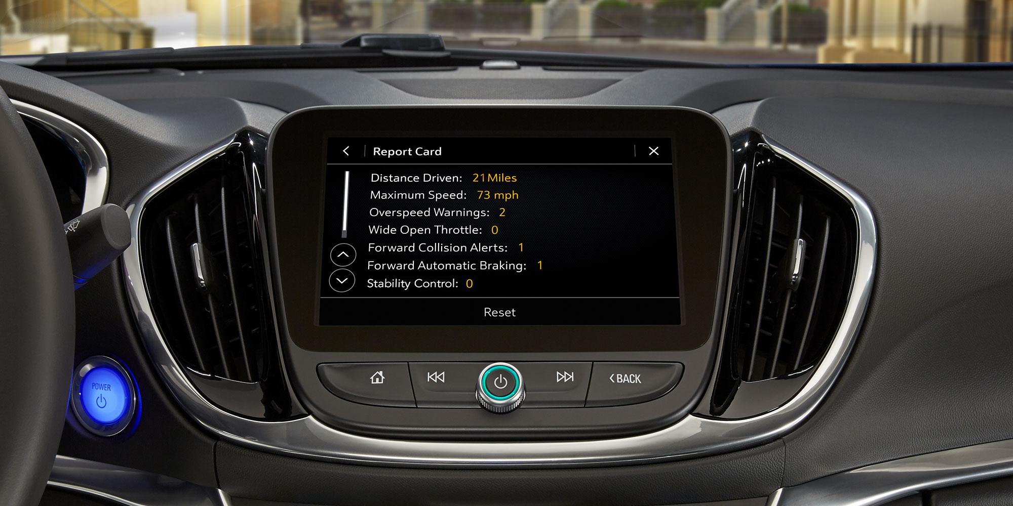 Teen Driver de Chevrolet: tarjeta de informes