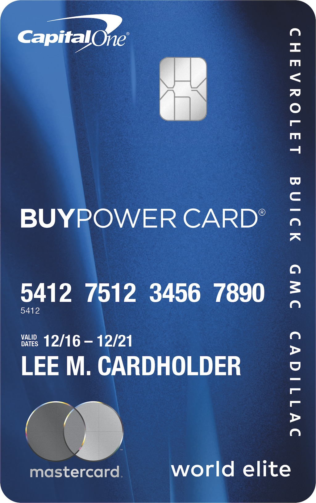 Solicita una BuyPower Card y gana puntos en todas las compras para usarlos en un vehículo Chevrolet, GMC, Buick o Cadillac nuevo.