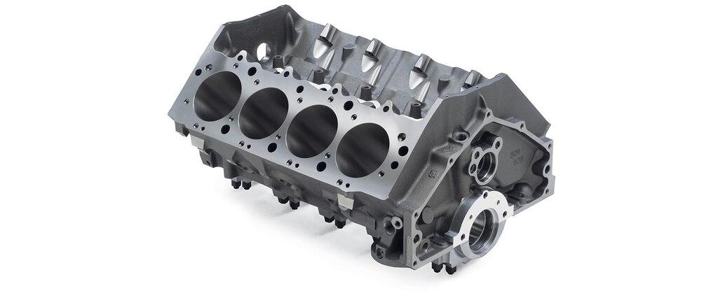 Vista superior trasera del bloque grande de motor para carreras Bowtie, vacío, de hierro fundido de Chevrolet Performance