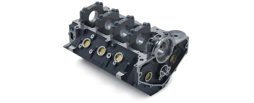 Vista inferior trasera del bloque vacío de motor Mark IV/Gen VI 502 para bloque grande de Chevrolet Performance