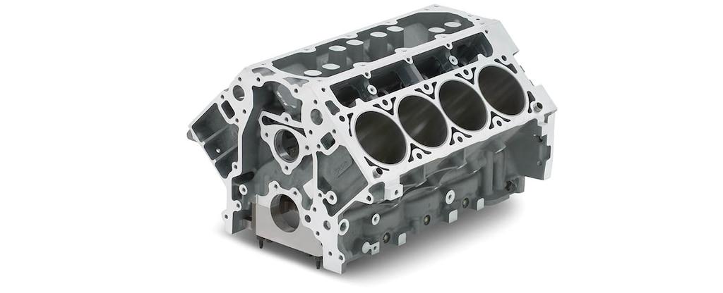 Vista superior delantera del bloque vacío de motor de cilindros LS9 de 6.2 L para producción serie LS/LT/LSX de Chevrolet Performance