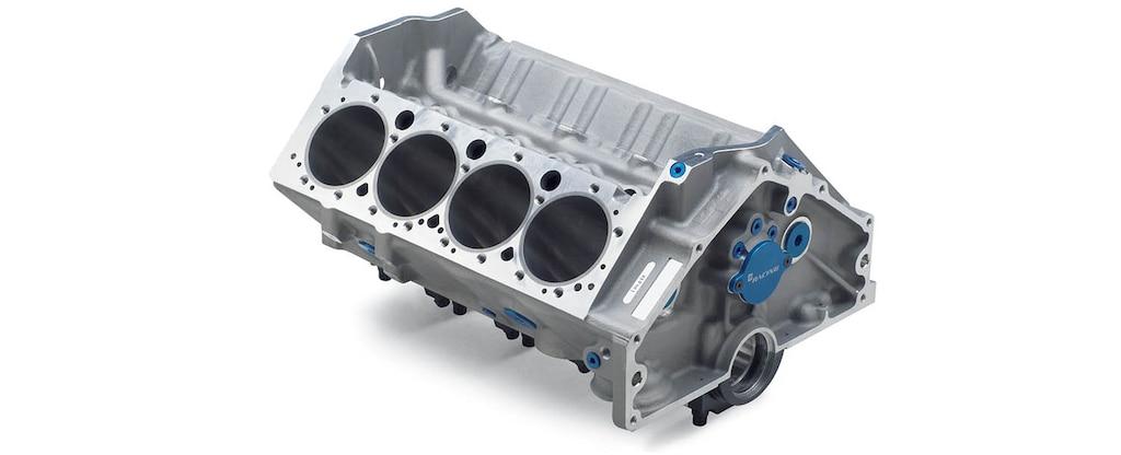 Vista superior trasera del bloque pequeño de motor 400 de aluminio para carreras Chevrolet Performance