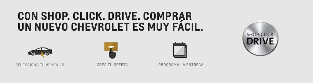 Con Compra. Cliquea. Conduce. comprar un nuevo Chevrolet es muy fácil. Selecciona tu vehículo. Crea tu oferta. Programa la entrega.