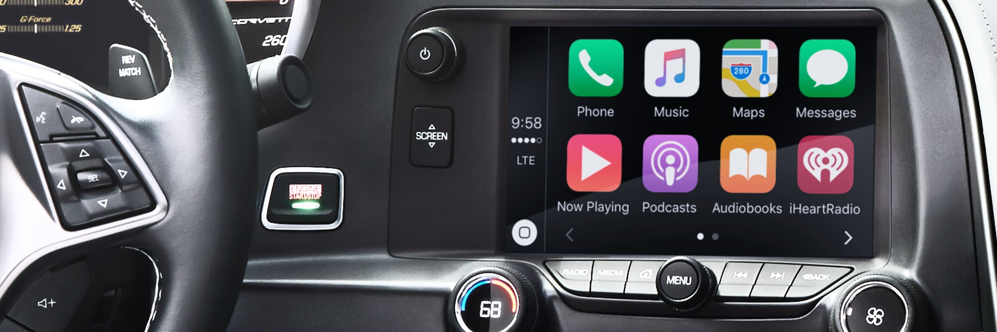 Apple CarPlay en el auto deportivo Chevrolet Corvette Grand Sport 2017