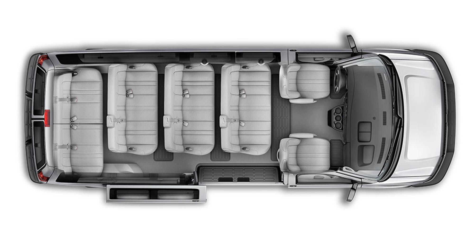 Vista superior de los asientos interiores de la Van Express Passenger 2018