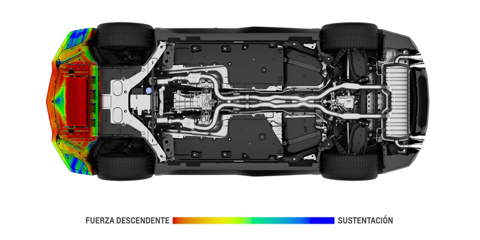Desempeño del auto deportivo Camaro 2018: modelo aerodinámico - faldón delantero