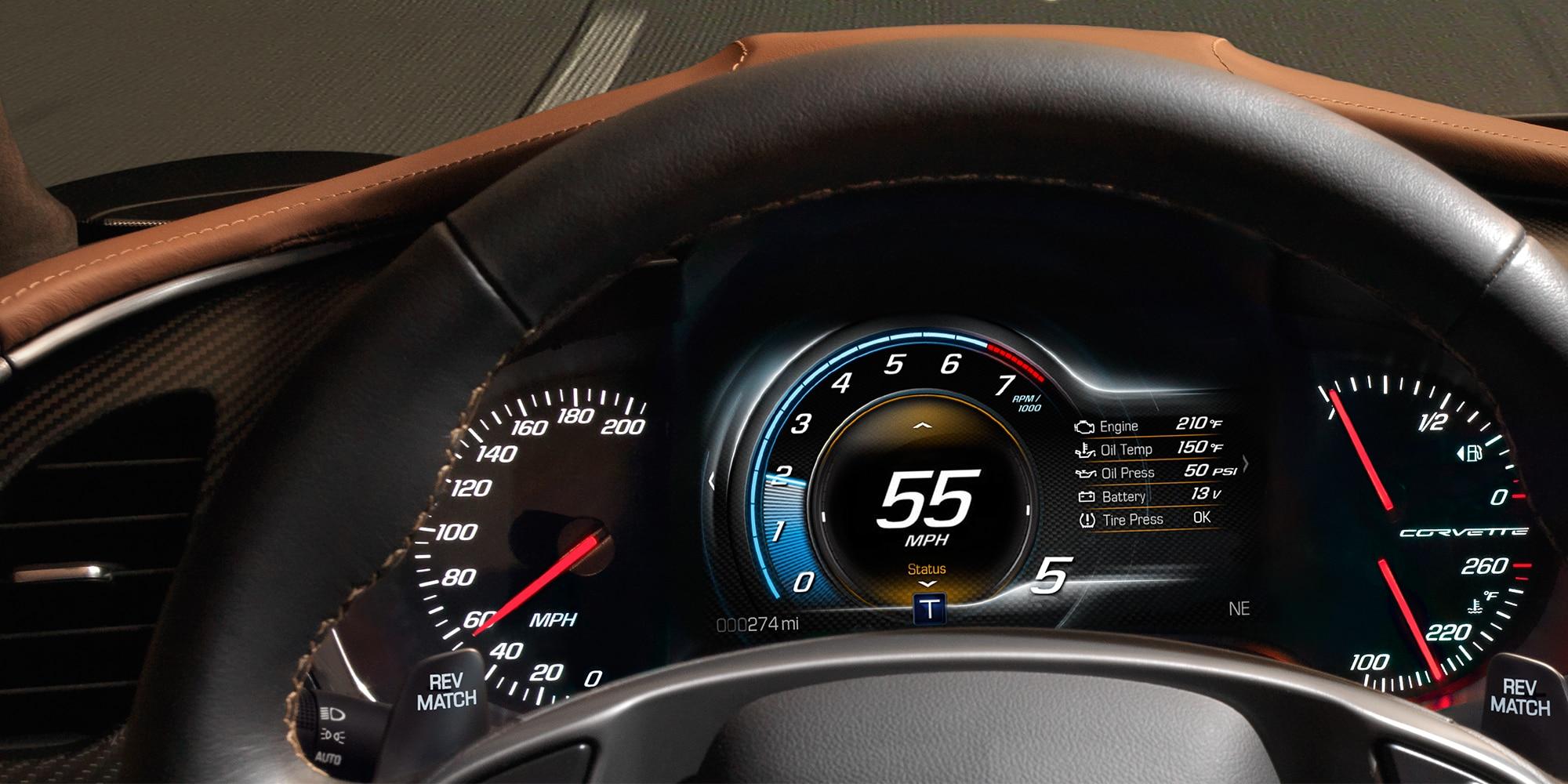 Desempeño del auto deportivo Corvette Stingray 2018: Tablero de instrumentos