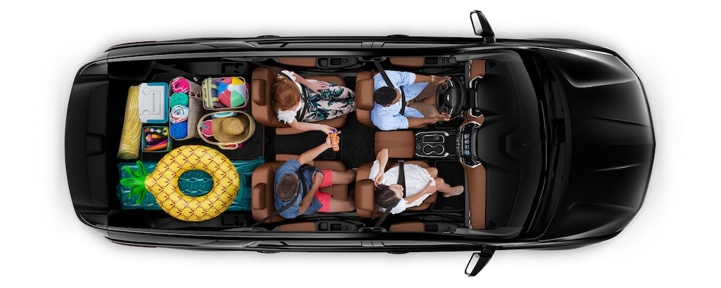 Área de carga de la SUV mediana Traverse 2019: viaje a la playa