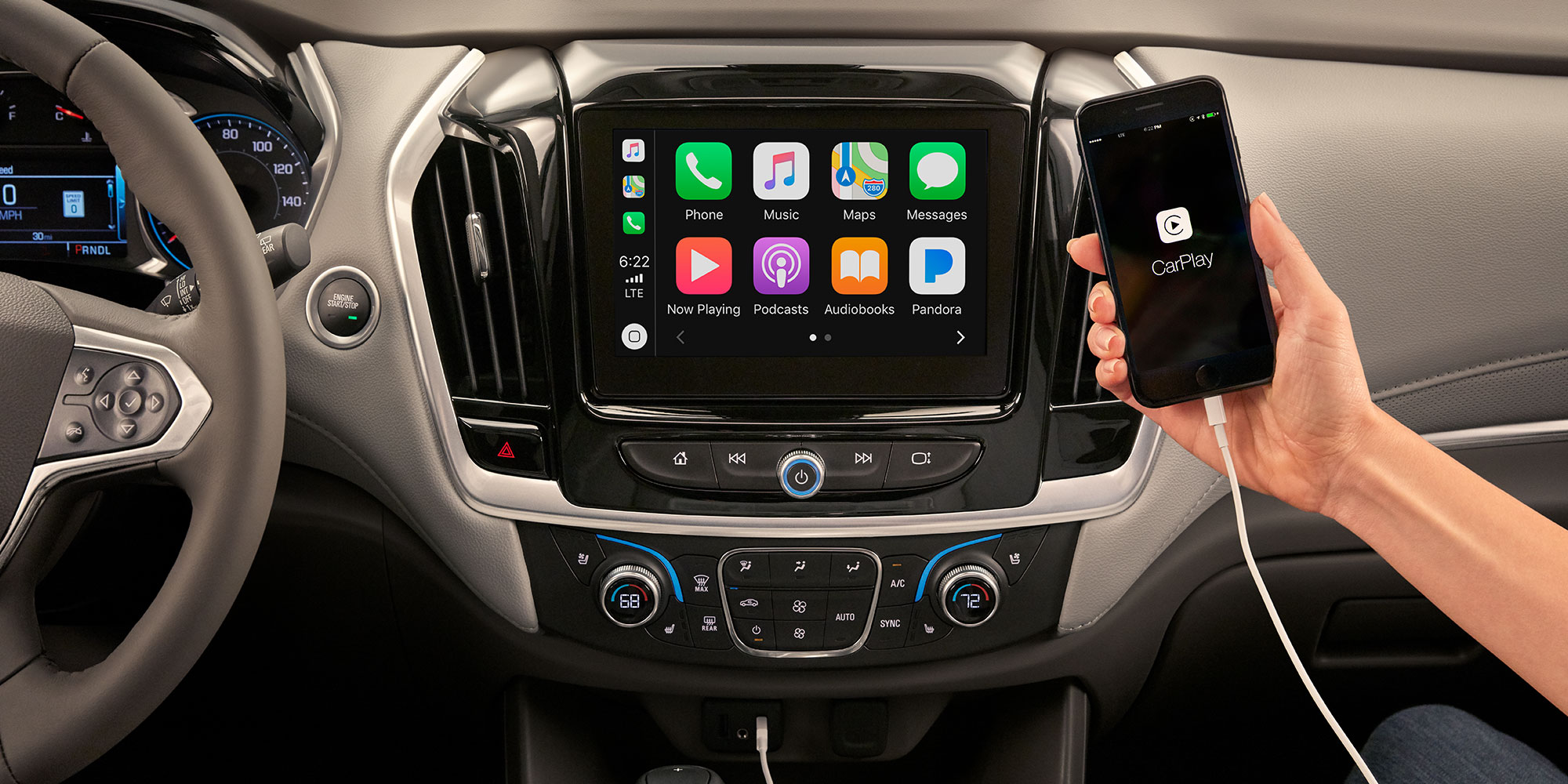 Tecnología en la SUV mediana Traverse 2019: Pantalla de Apple CarPlay