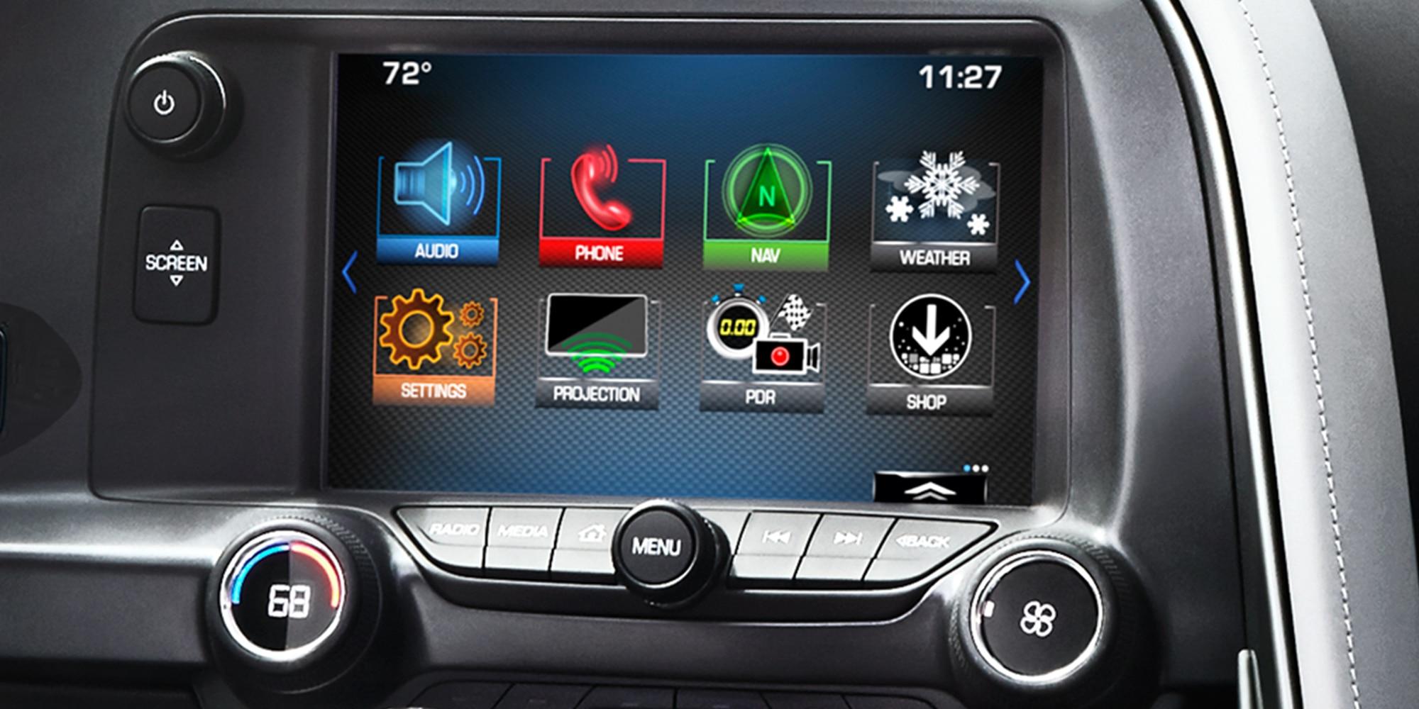 Tecnología del auto deportivo Corvette Z06 2019: radio MyLink con pantalla táctil en color