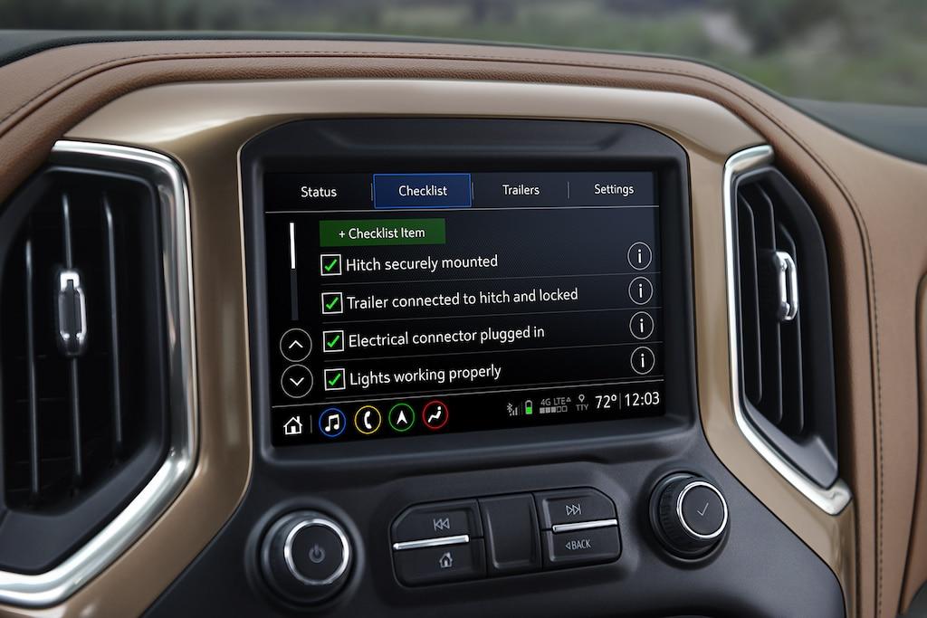 Sistema de remolque integrado en la camioneta Silverado 1500 2019: Pantalla de la lista de verificación antes de la partida