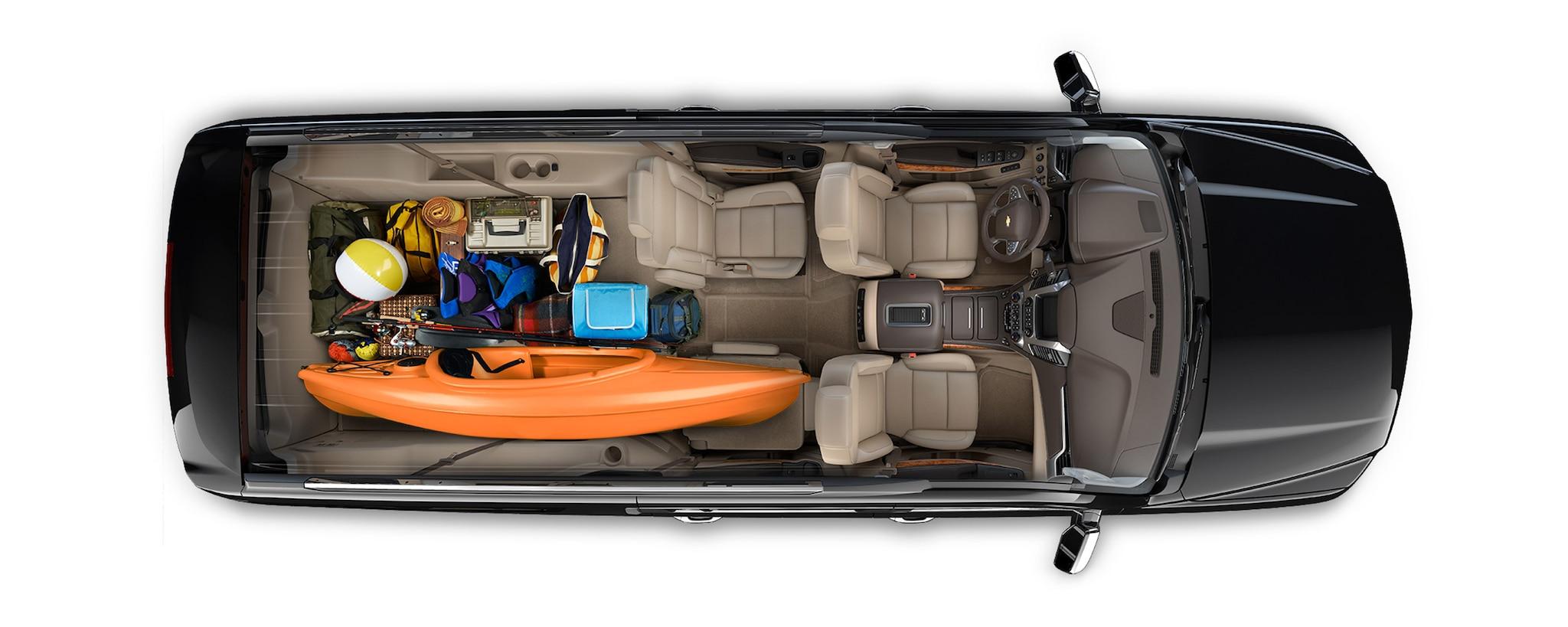 Diseño de SUV Suburban 2020: carga interior-viaje familiar