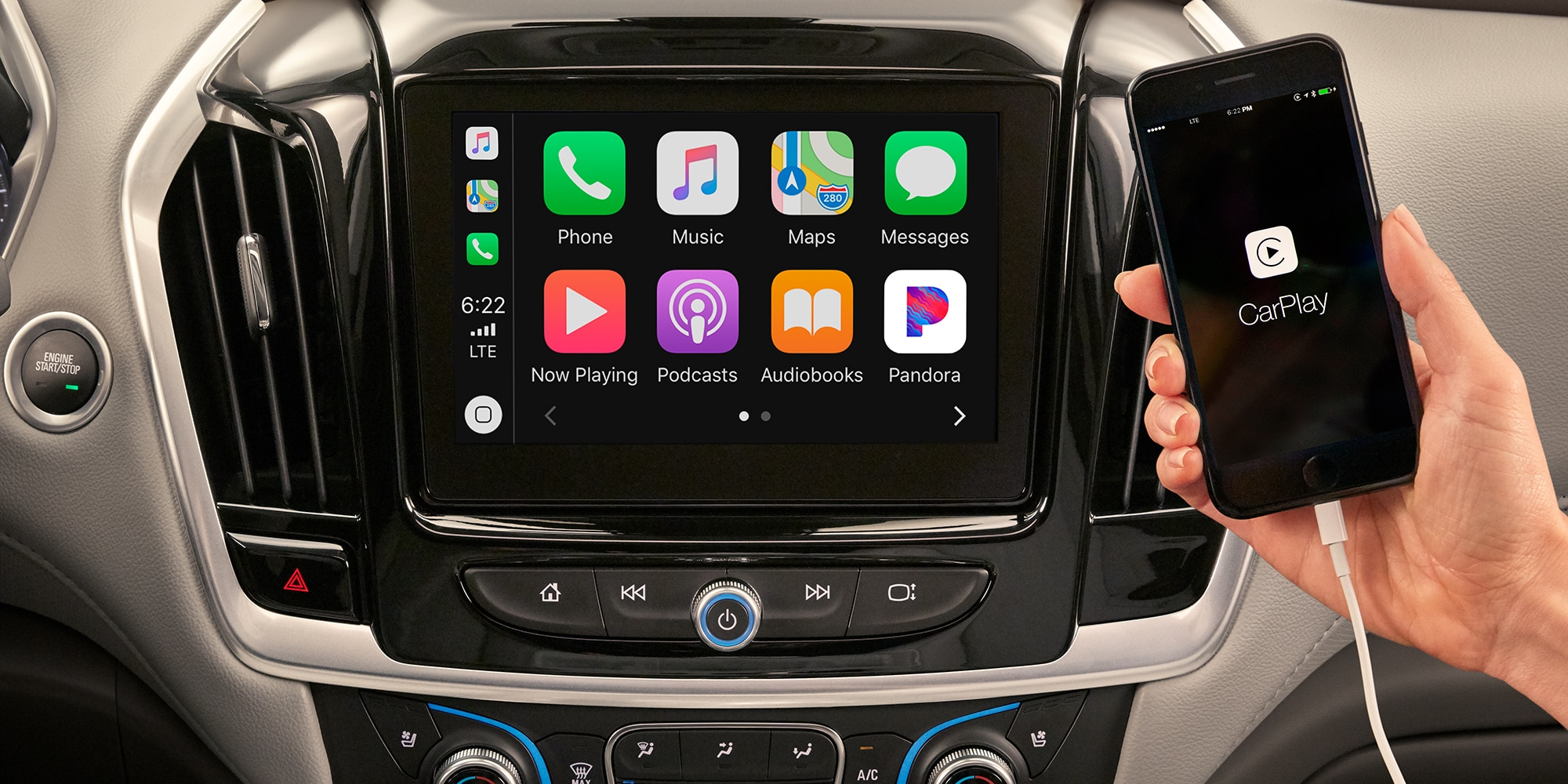 Apple Carplay en la SUV Chevrolet Traverse 2020 de tamaño mediano