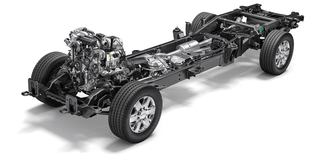 Totalmente nueva camioneta Chevy Silverado HD 2020: vista del chasis